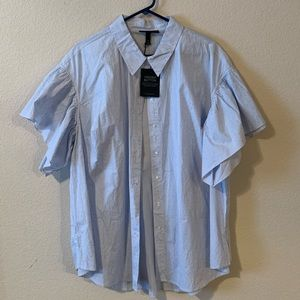 Baby Blue Pinstriped Button Down w/ Flared Sleeve